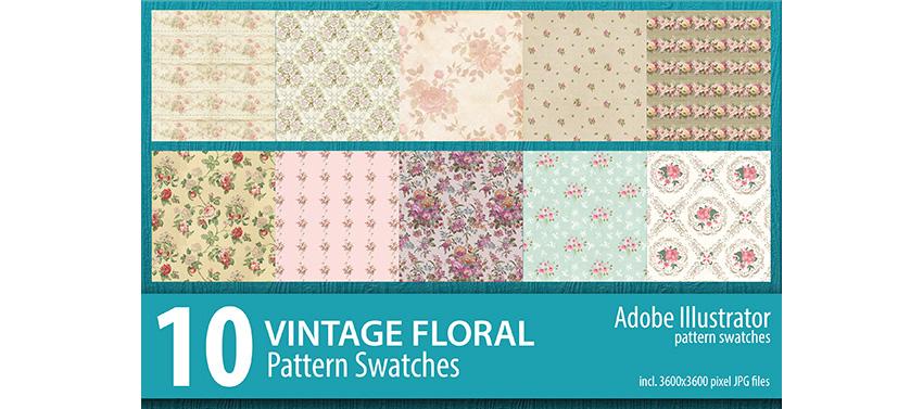 10 Vintage Floral Pattern Illustrator Swatches