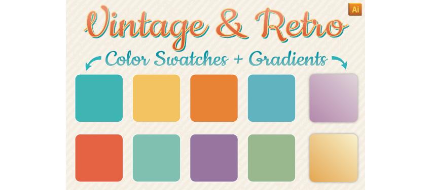 Vintage Retro Gradients Color Swatches