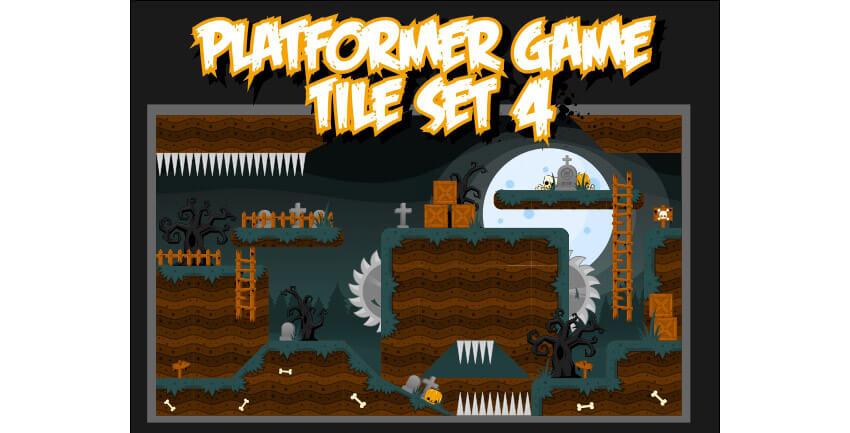 Platformer Game Tile Set 4