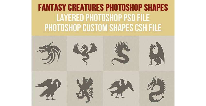 Fantasy Creatures Photoshop Shapes