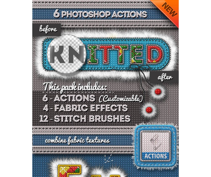 Fur and Knitted Fabric Photoshop Actions