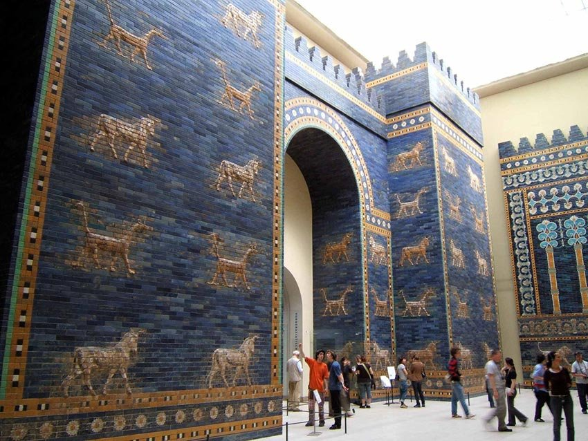 Reconstruction of the Ishtar Gate at the Pergamon Museum in Berlin