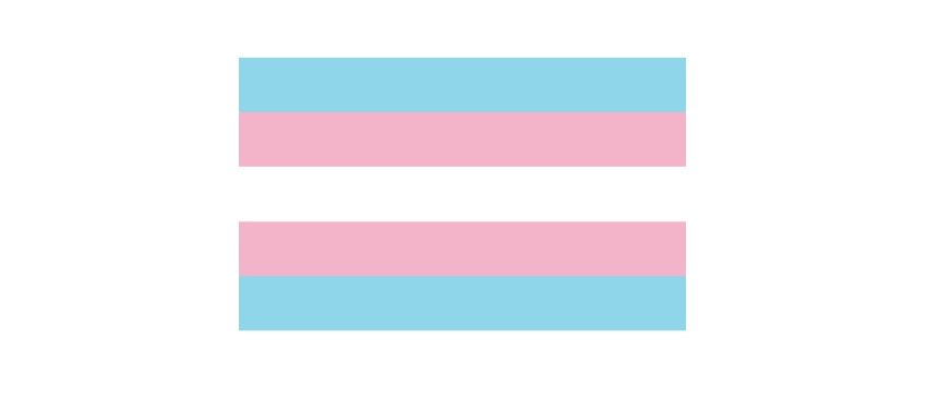 The transgender flag featuring blue, pink, and white stripes.
