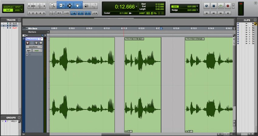 Editing dialogue in Pro Tools