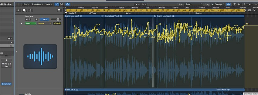 Heavy volume automation on a pop vocal