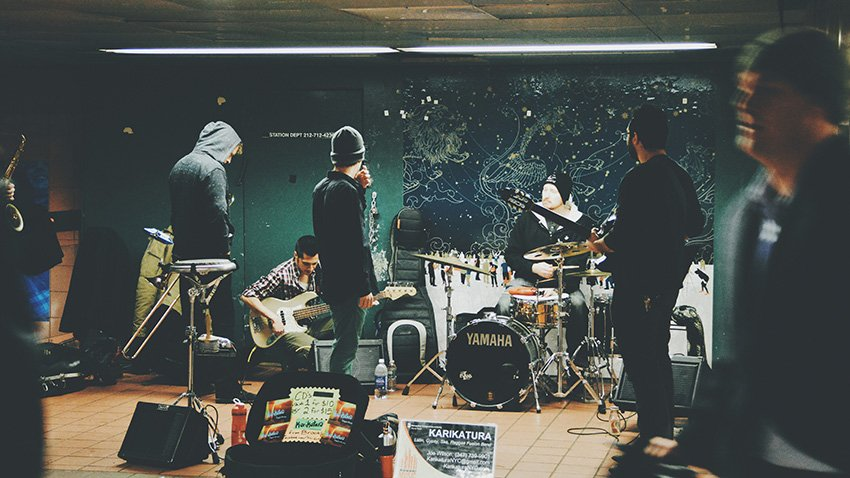 A rock band rehearsing