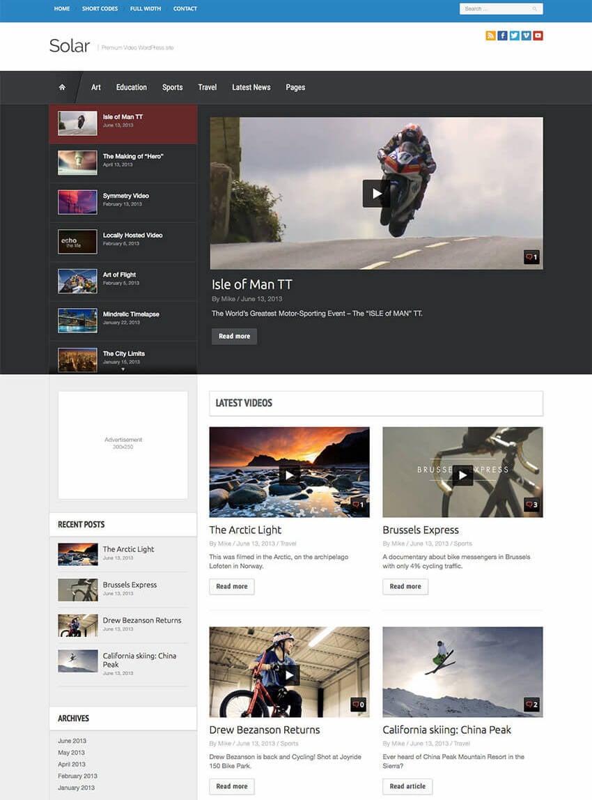 Solar Video WordPress Theme