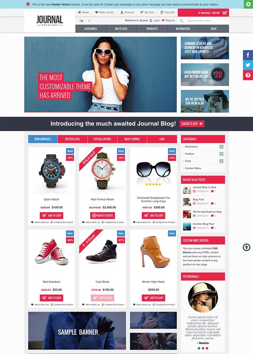 Journal 2016 Opencart eCommerce Template