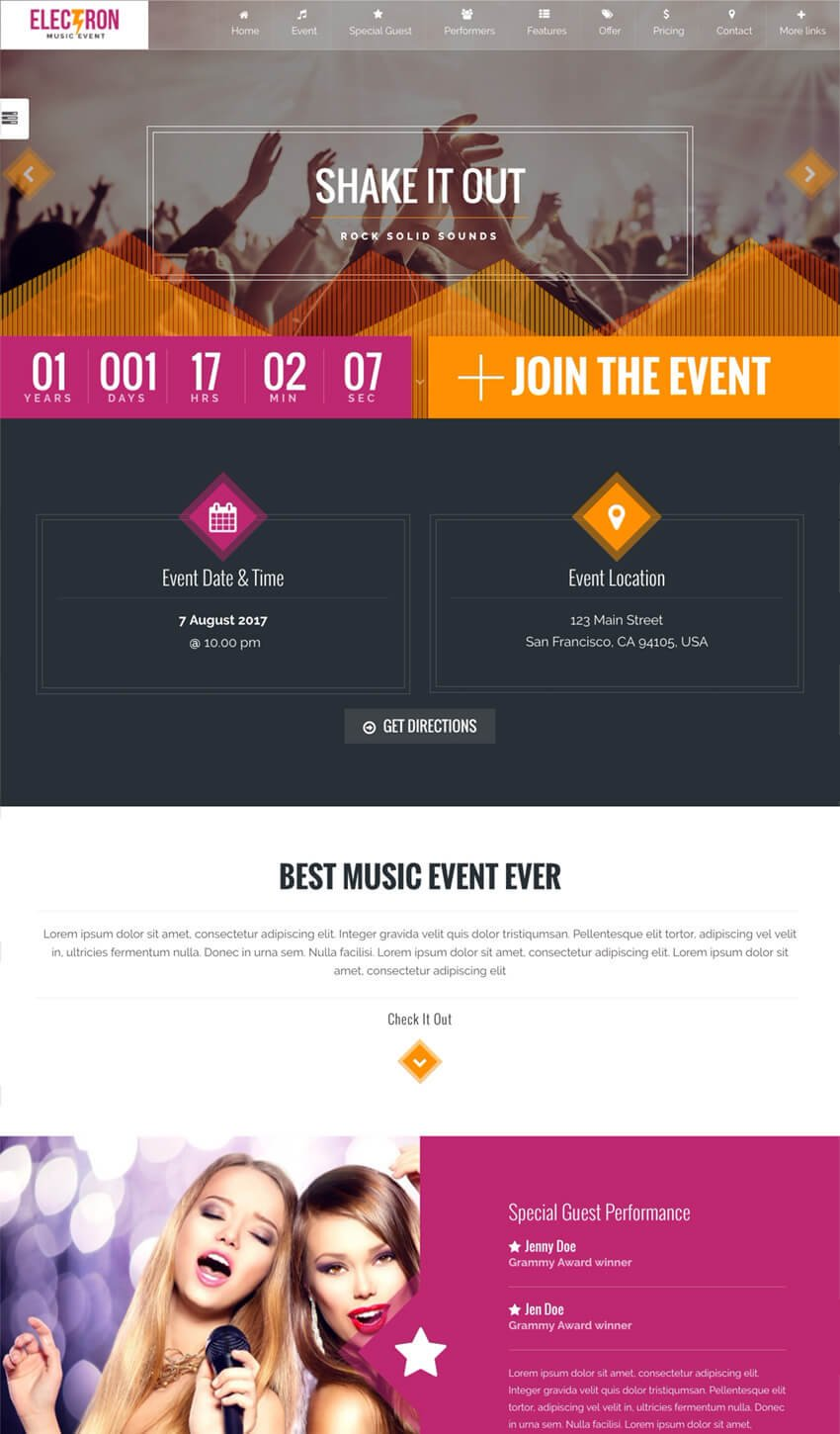Electron Event Concert Conference WordPress Theme