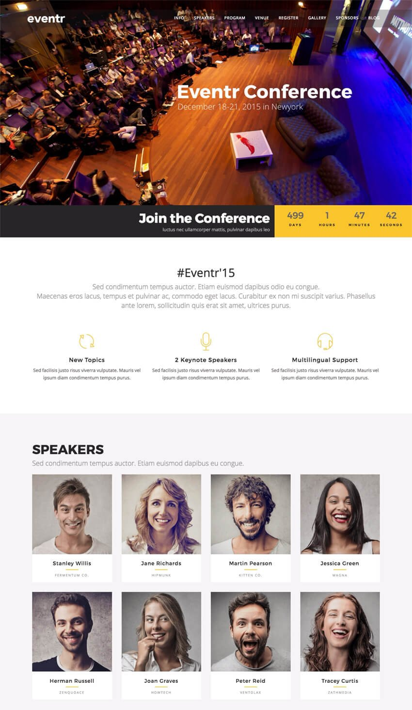 Eventr One Page Event WordPress Theme