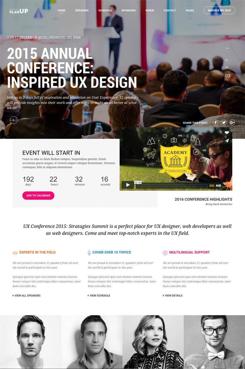 PlanUp Event Booking WordPress Theme
