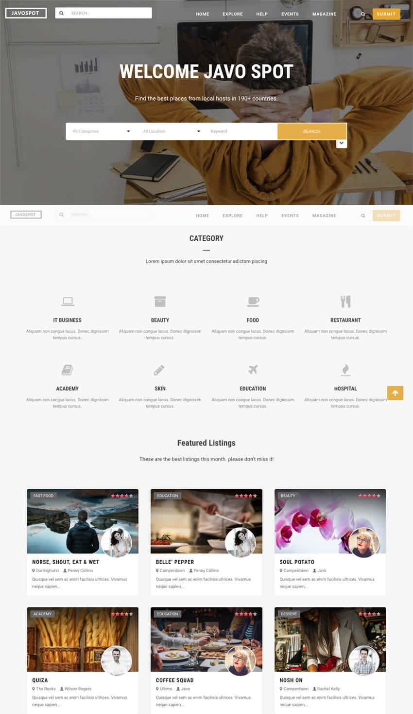 Javo Spot Flexible Directory WordPress Theme