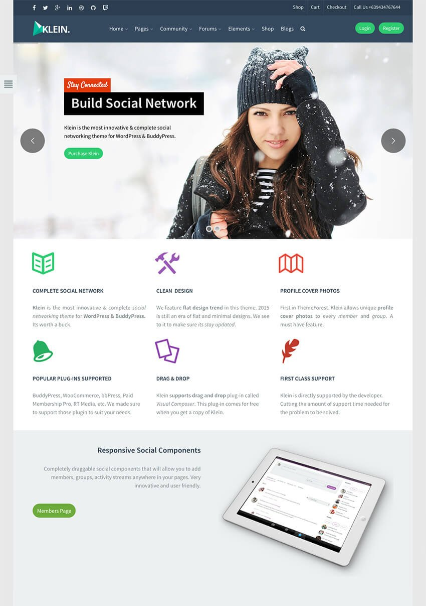 Klein Powerful WP BuddyPress Community Theme