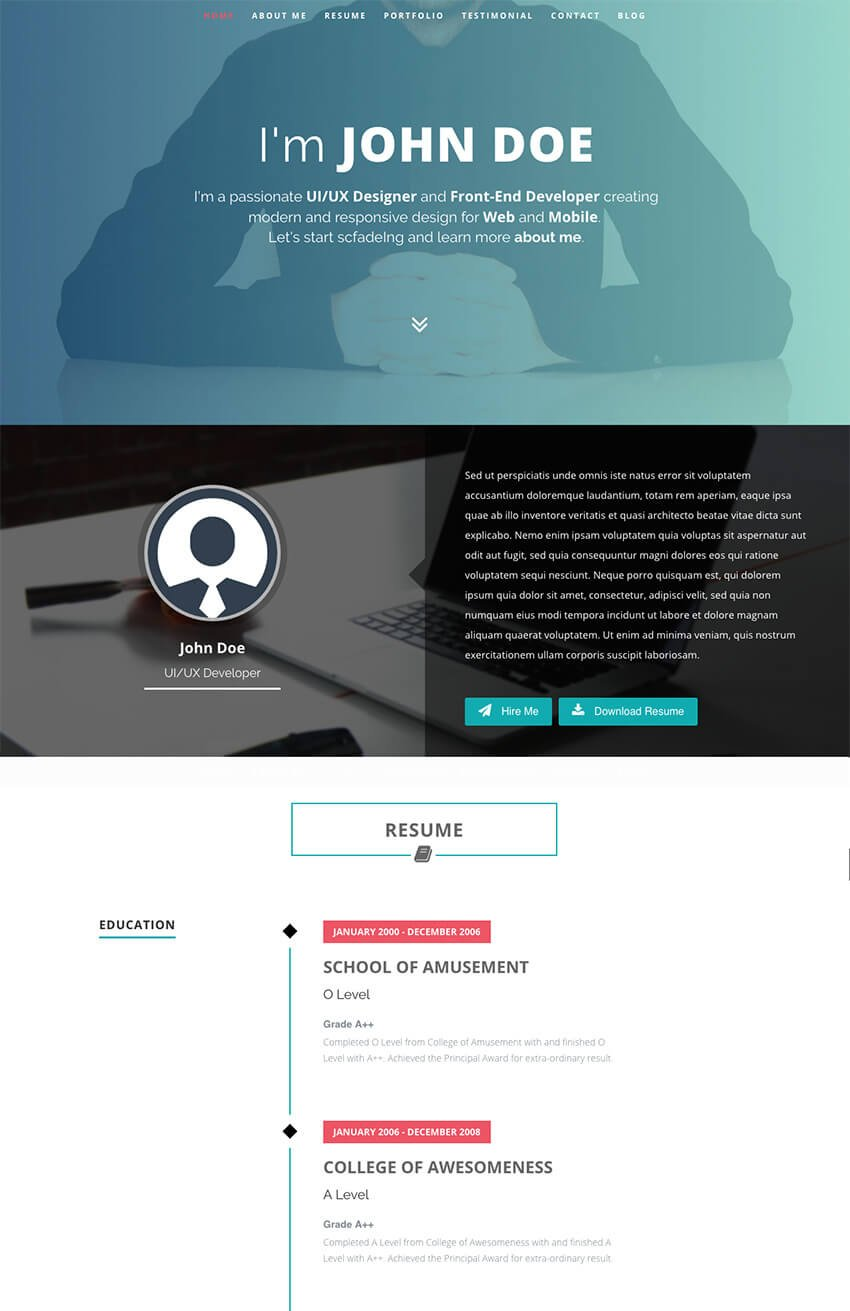Intima - Resume With Folio WordPress Theme