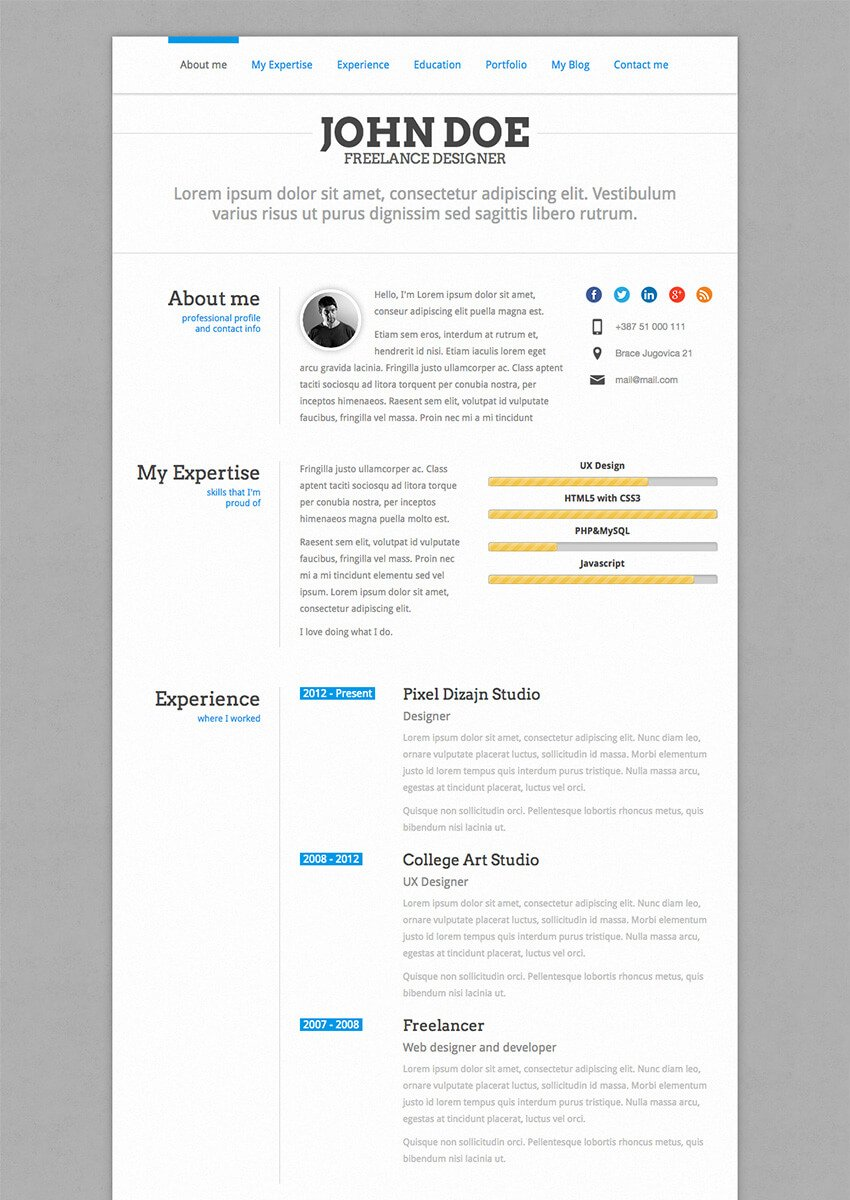 PerfectCV - WordPress CV Resume Theme