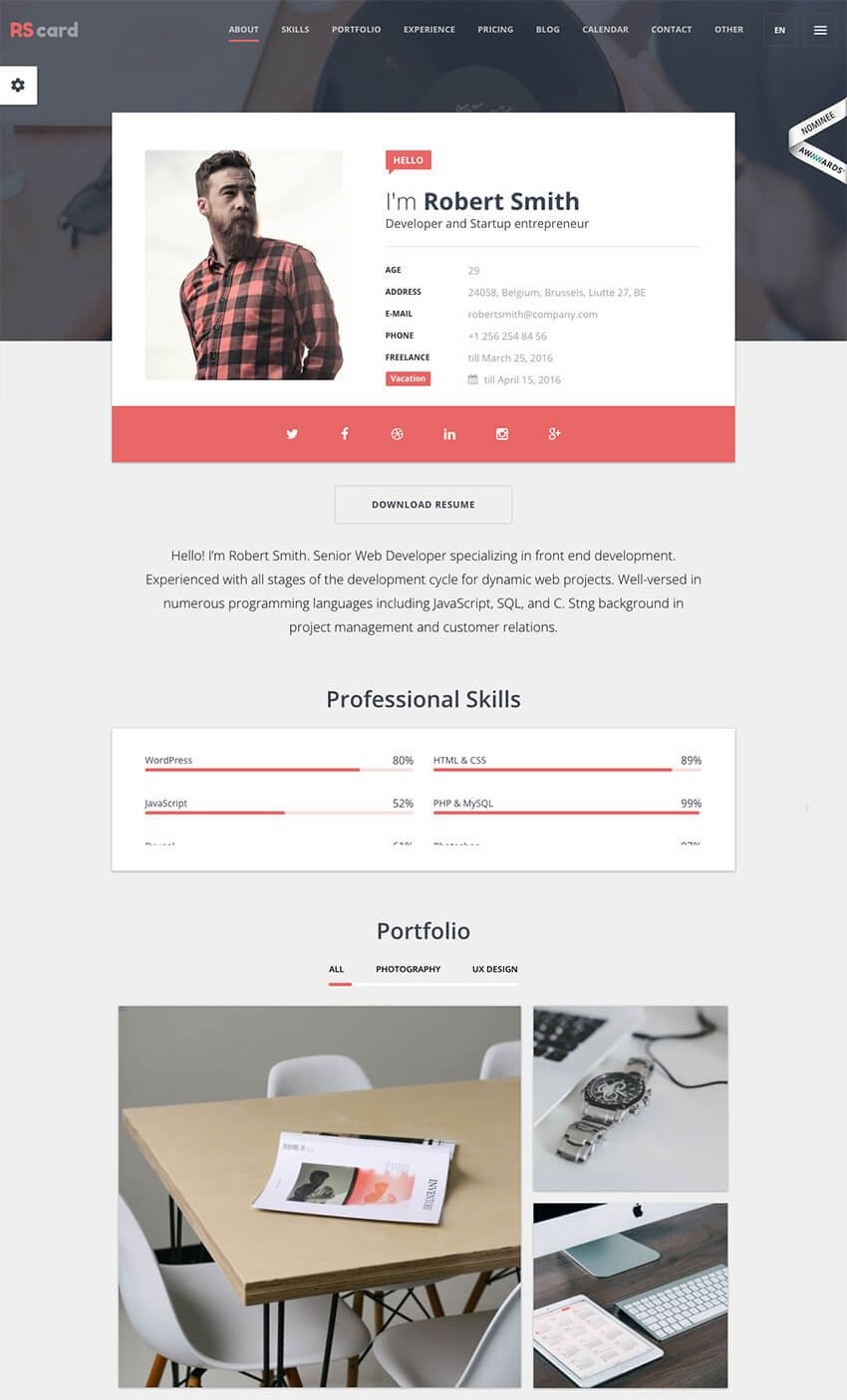 RS Card WordPress Resume CV vCard Theme