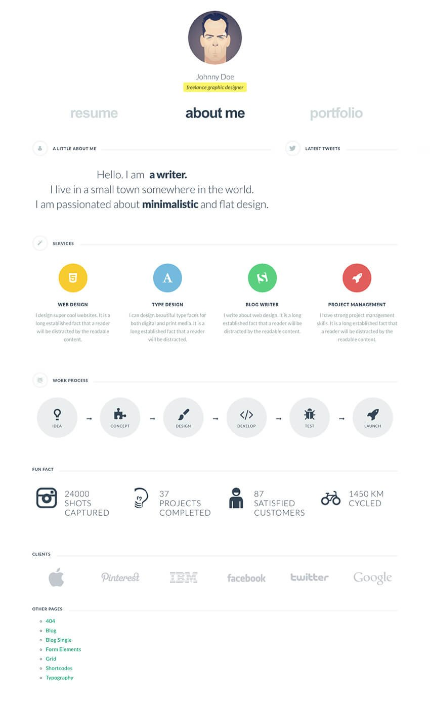 cvCard WordPress Resume vCard Theme