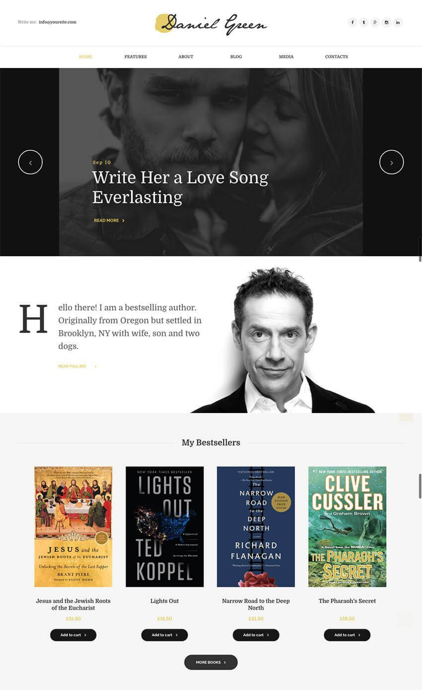 WordPress Blog for Writers and Journalists With Bookstore