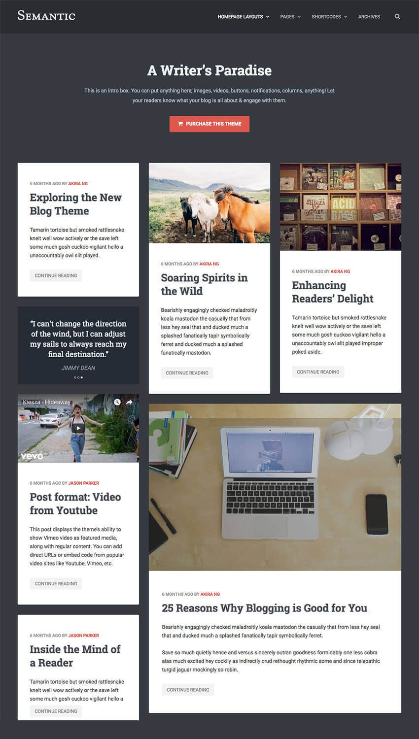 Semantic Clean WP Blog Theme for Writers Authors