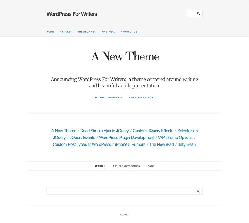 WordPress for Writers - WP Author Theme