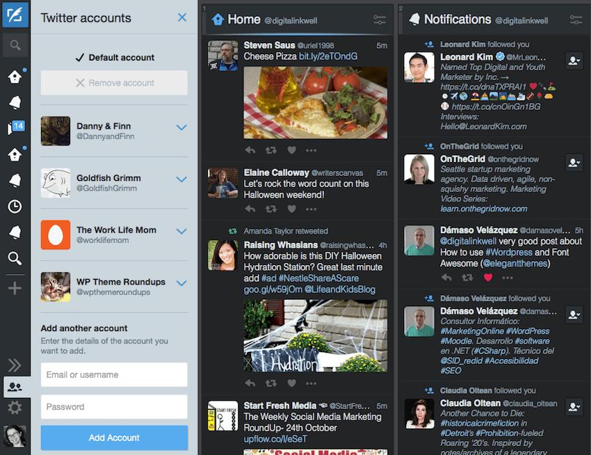 Adding an account to TweetDeck