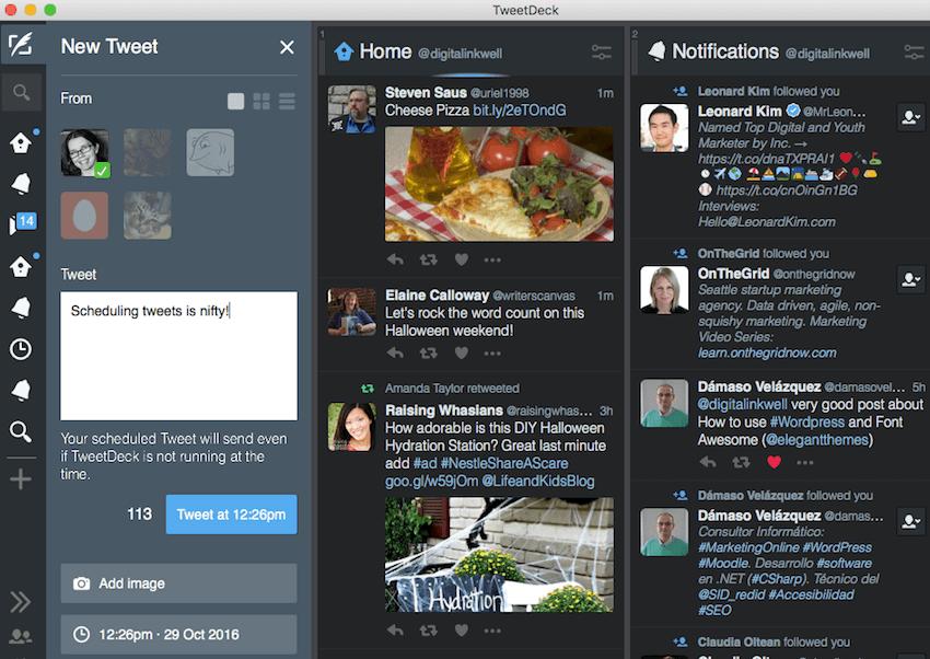 scheduling tweets in TweetDeck
