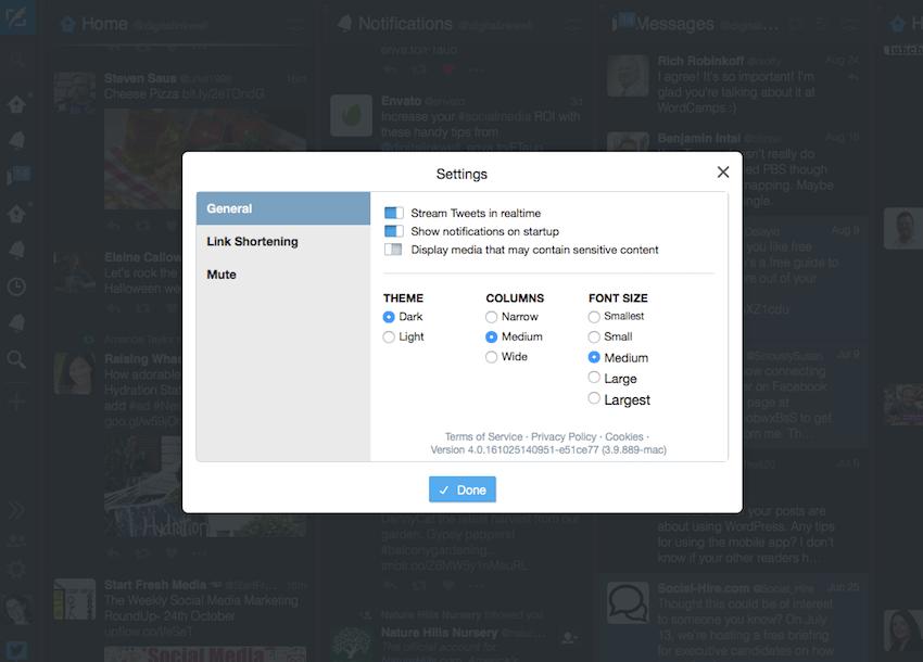Twitter TweetDeck settings