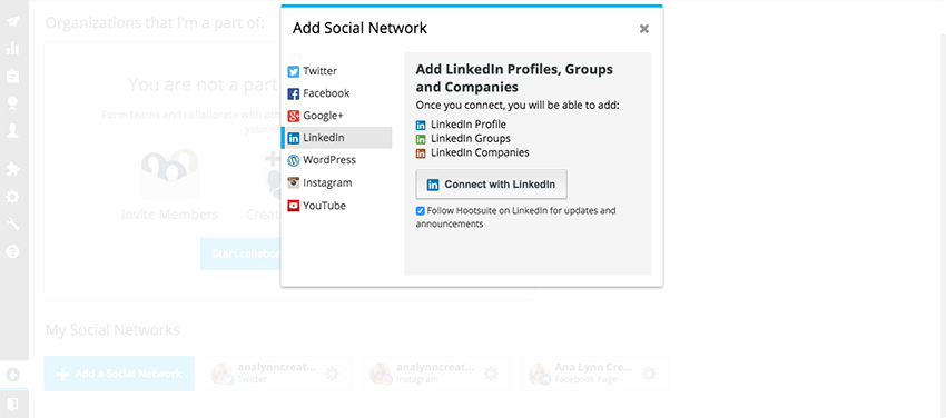 LinkedIn and other social pages to import in Hootsuite