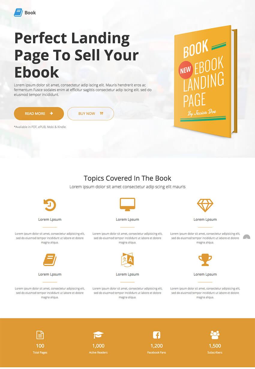 Book Responsive Landing Page eBook WordPress Theme