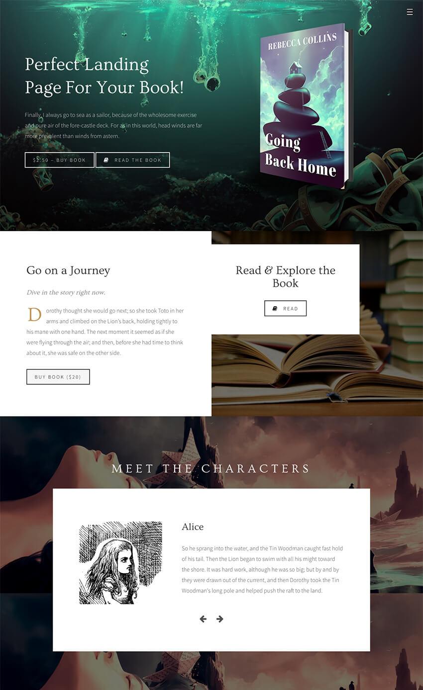 Novela Stylish Author WordPress Theme for eBooks Sales