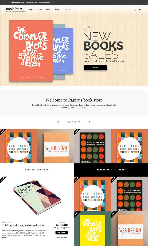 Papirus Author WordPress eBook eCommerce Store Theme