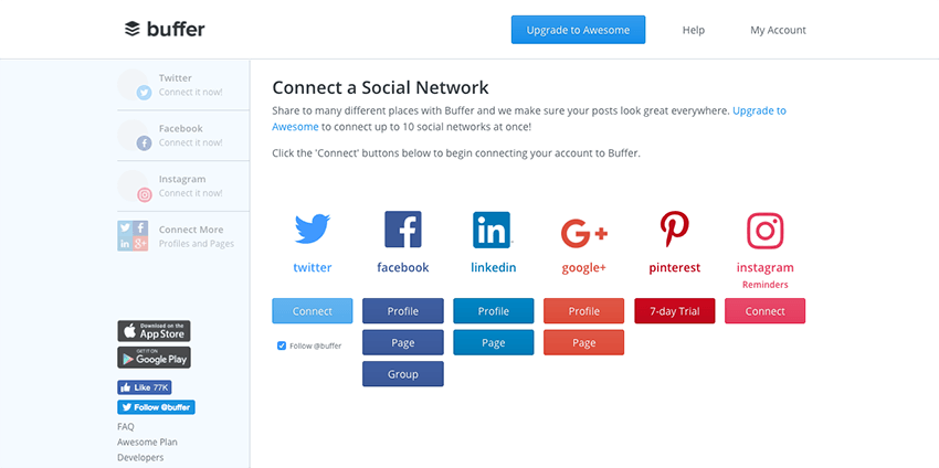 connecting social accounts to Buffer