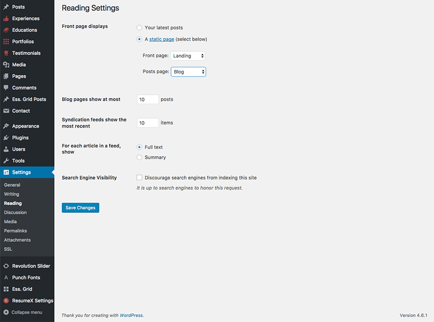 reading settings for your resume theme
