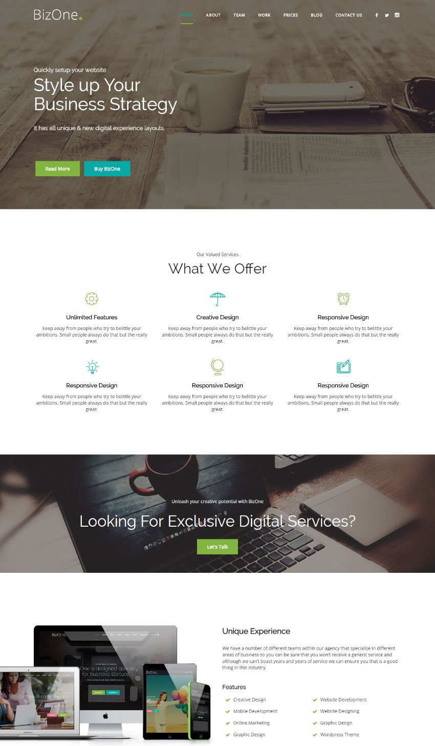 Biz One One Page Parallax Website Template