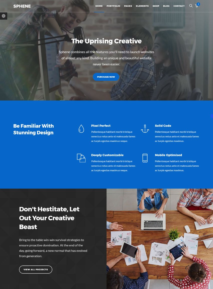 Sphene - Multiconcept One Page HTML Site Template