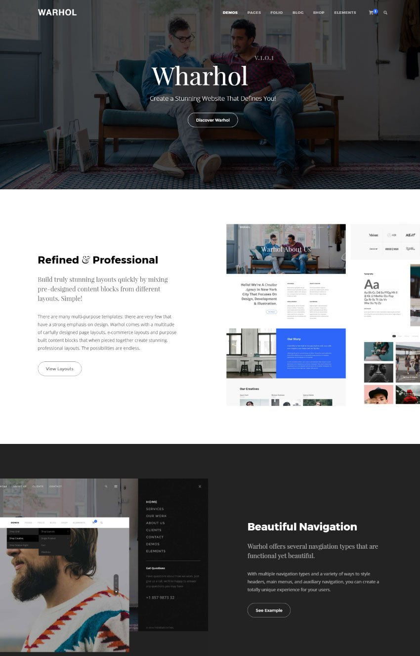 Wharhol - Modern HTML One Page Webite Template