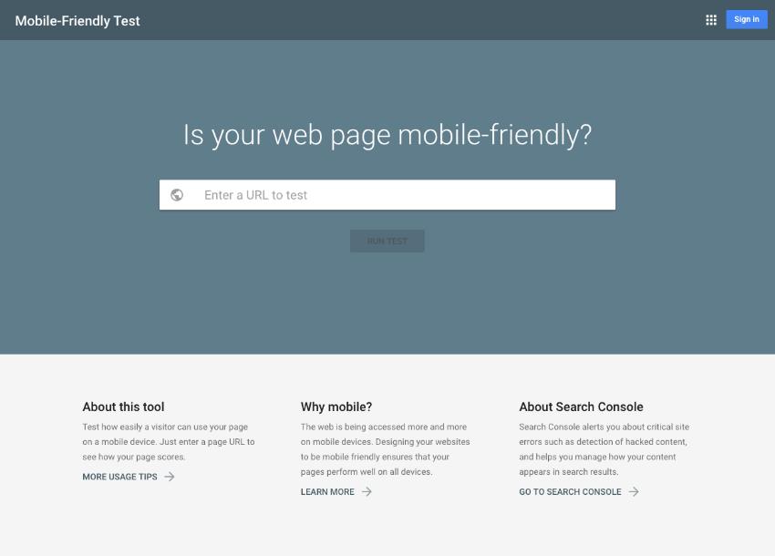 Mobile friendliness test