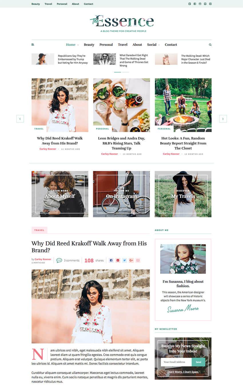 The Essence Feminine Personal WordPress Blog theme