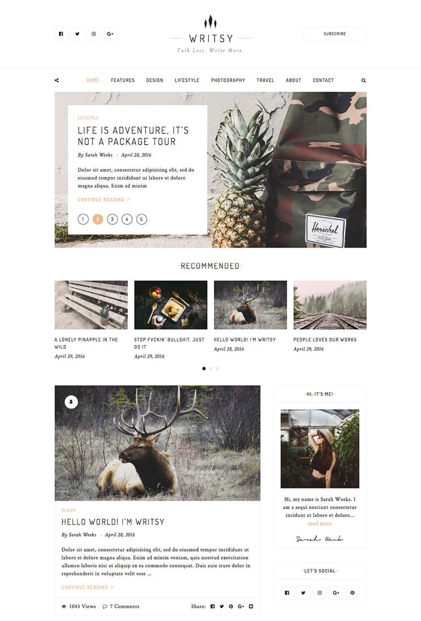 Writsy - Vintage WordPress personal blog theme