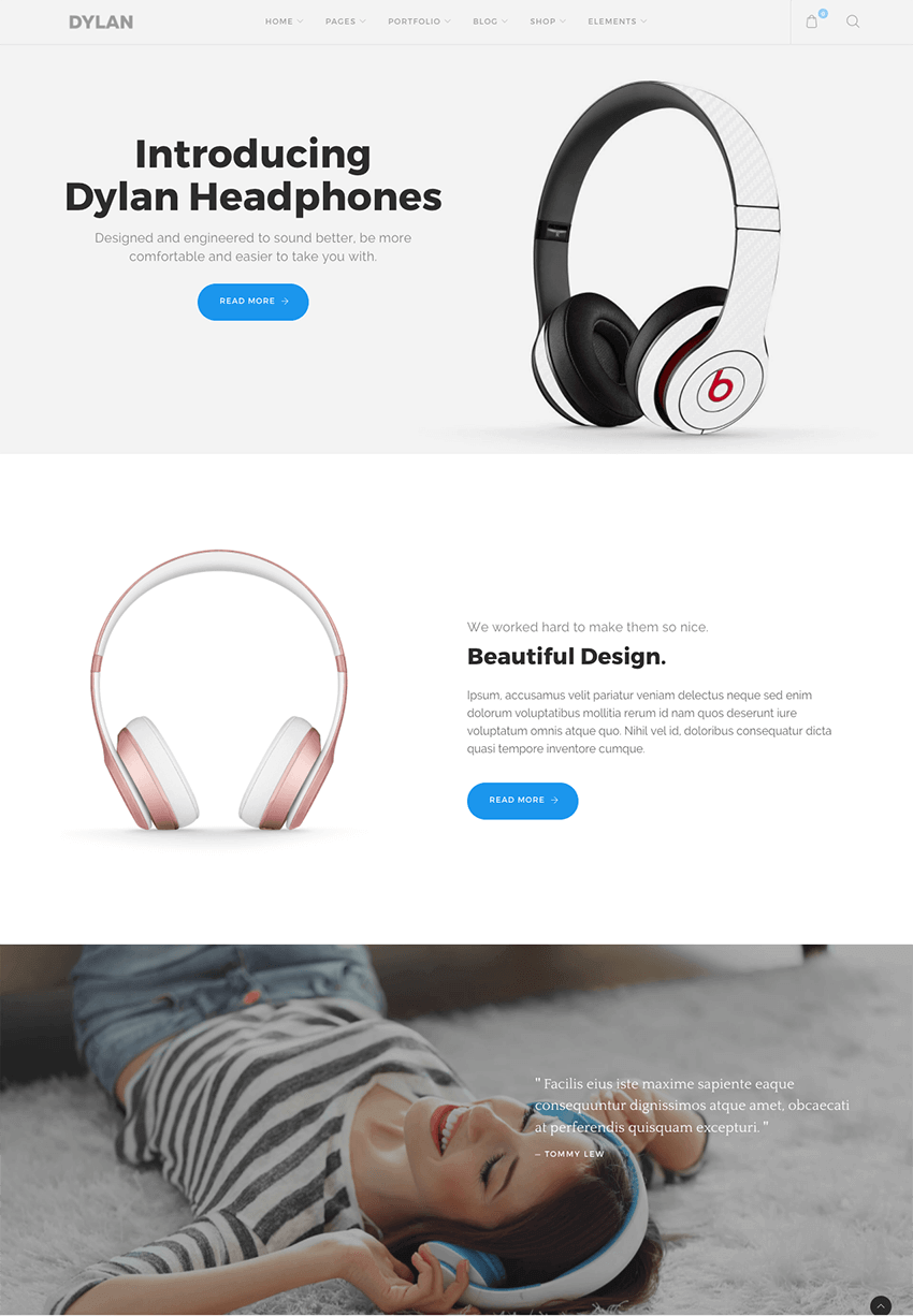 Dylan parallax WordPress website one page theme