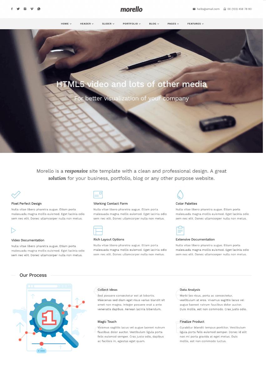 Morello one-page Wordpress professional parallax site template