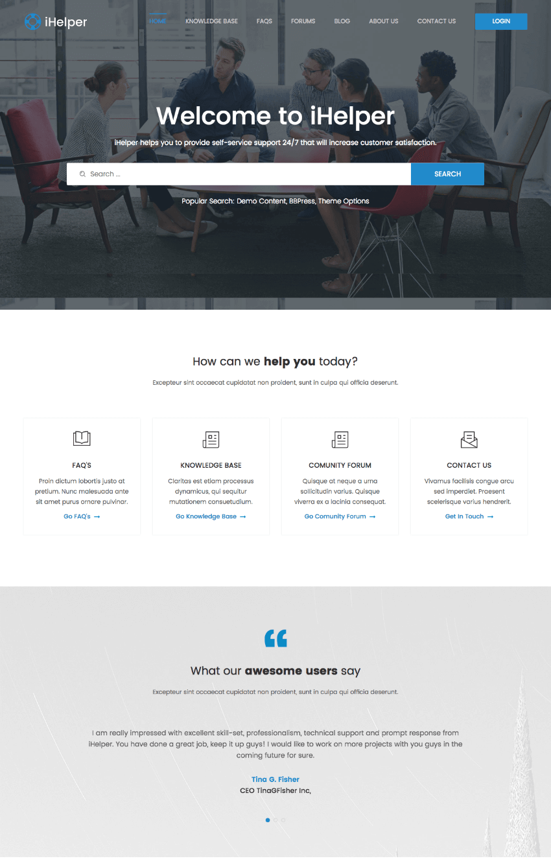 iHelper SEO Optimized Helpdesk Wiki-Style Theme