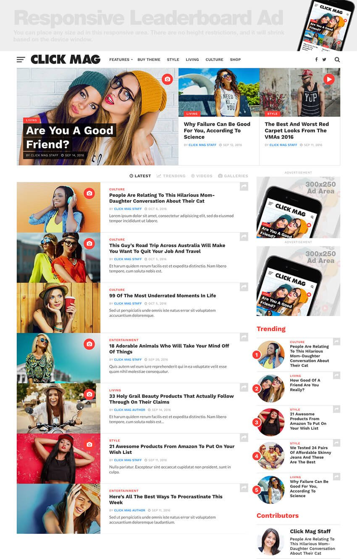 ClickMag viral WordPress magazine theme for minimal website design