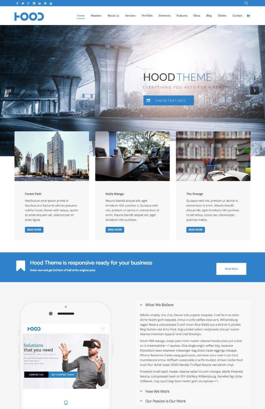 Hood Simple Responsive Clean WordPress Theme