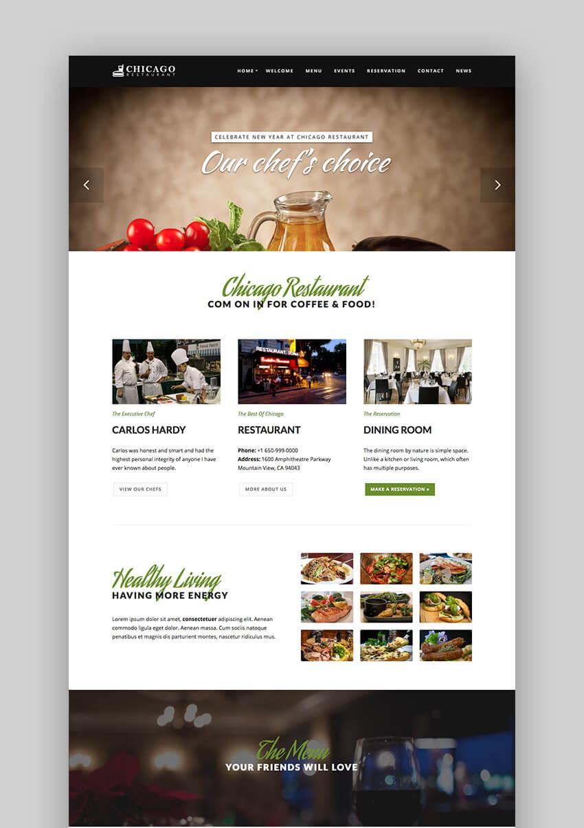 Chicago Premium restaurant WordPress theme design