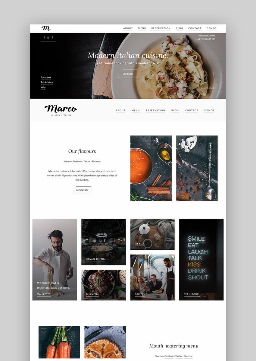 Marco clean restaurant WordPress theme