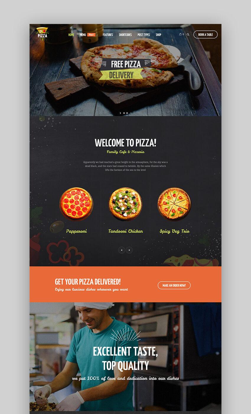 Pizza WordPress Restaurant theme for pizzerias