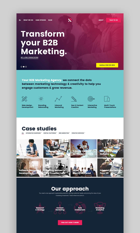 Royal business WordPress theme with flat website design