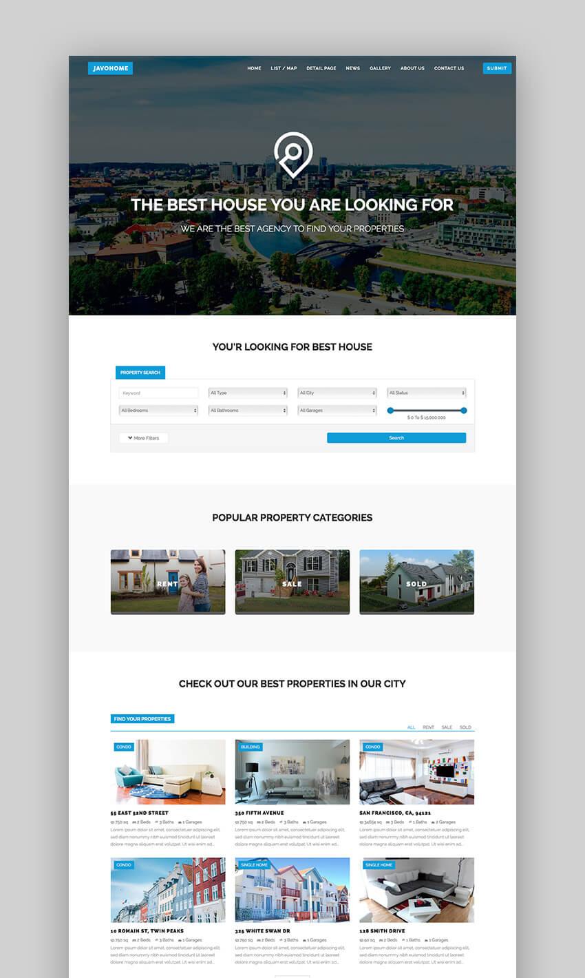 Javo Home fast real estate WordPress theme