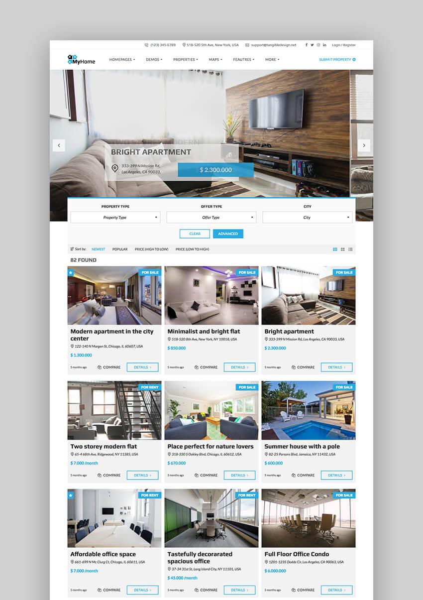 MyHome Innovative new WordPress Real Estate Theme
